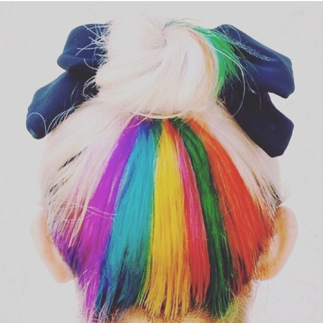 blonde hair with hidden rainbow hair