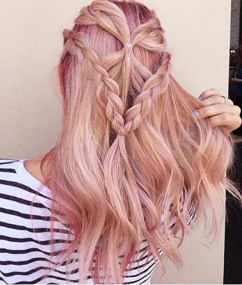 braided rose gold hairstyle