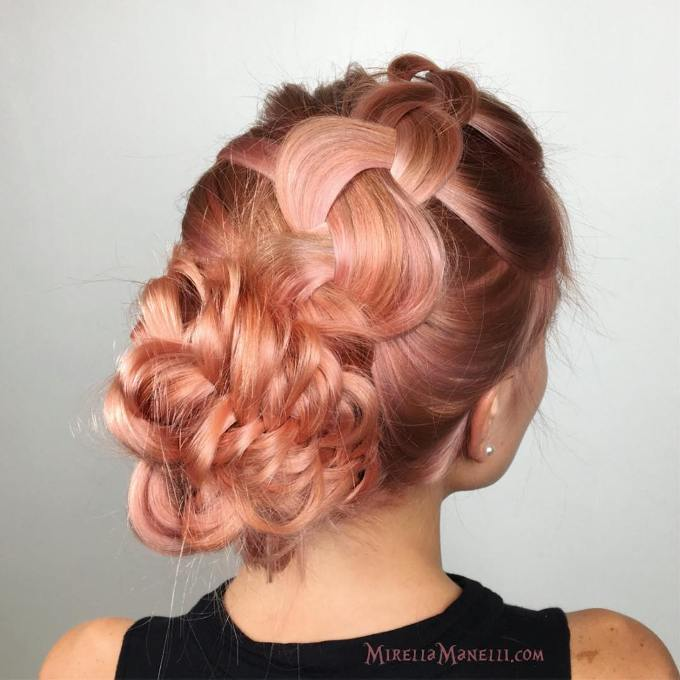 braided updo rosegold hair