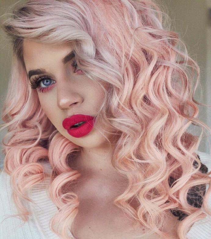 curly rose gold hair