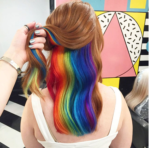 hidden rainbow instagram hair trend