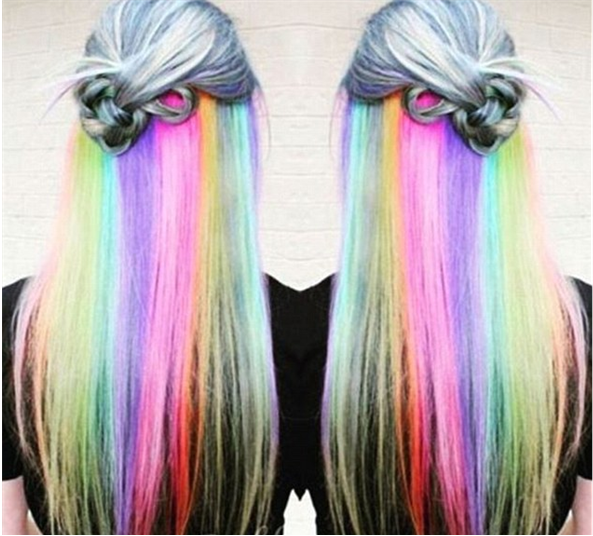 hidden rainbow long hair