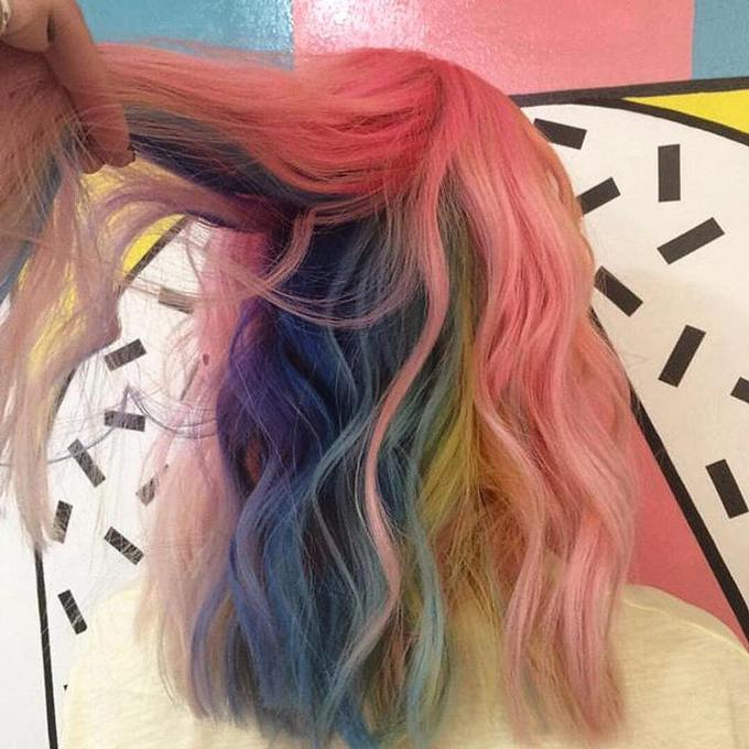 hidden underneath rainbow hair