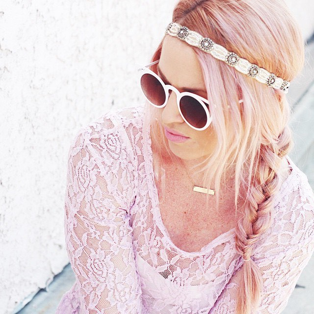 light rose gold braided hair