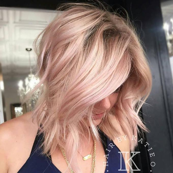lob rose gold hairstyle