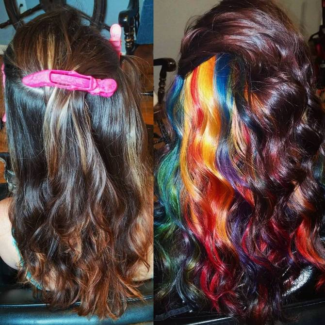 long hair with hidden rainbow