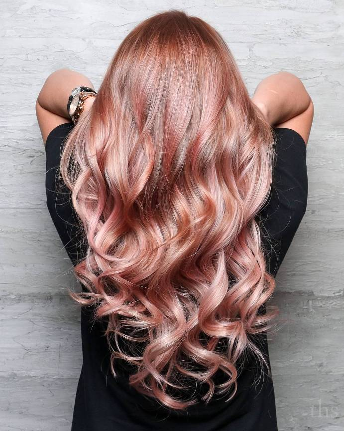 long wave rose gold hair color