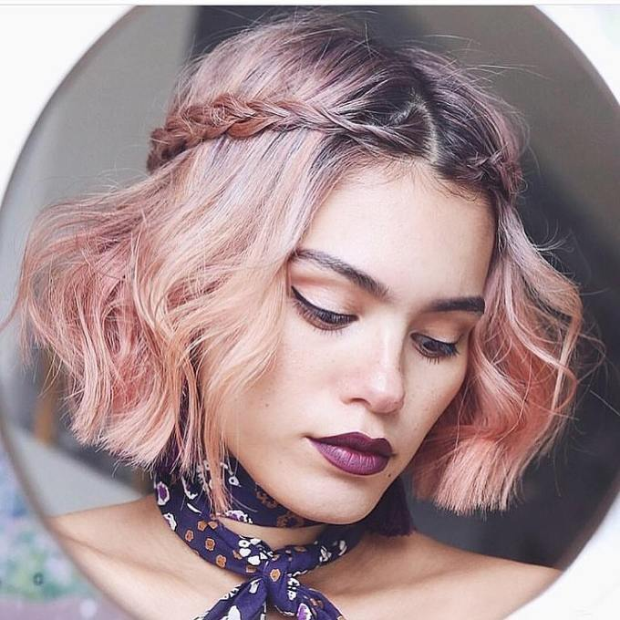 peachy pink rose gold hair