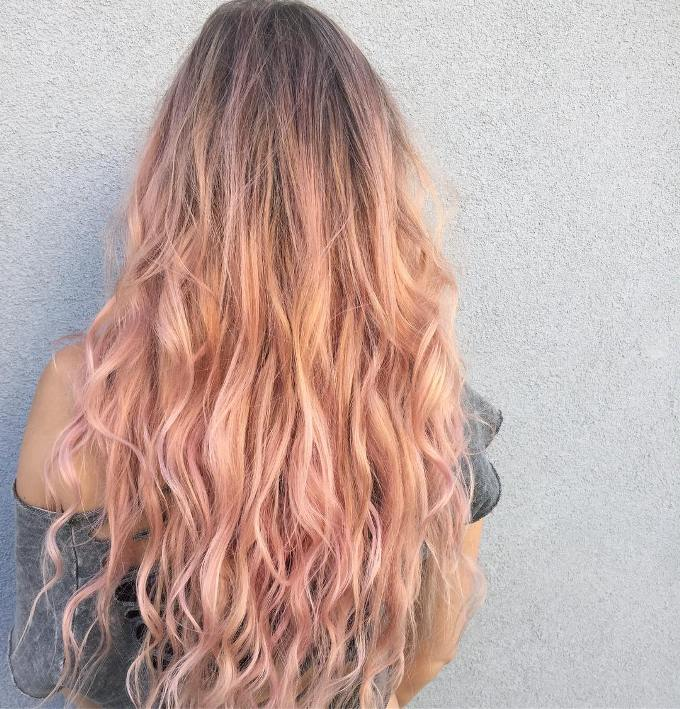 rose gold long wave hair