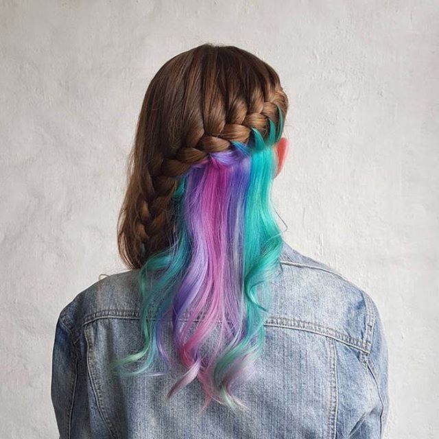side braid hidden rainbow hairstyle