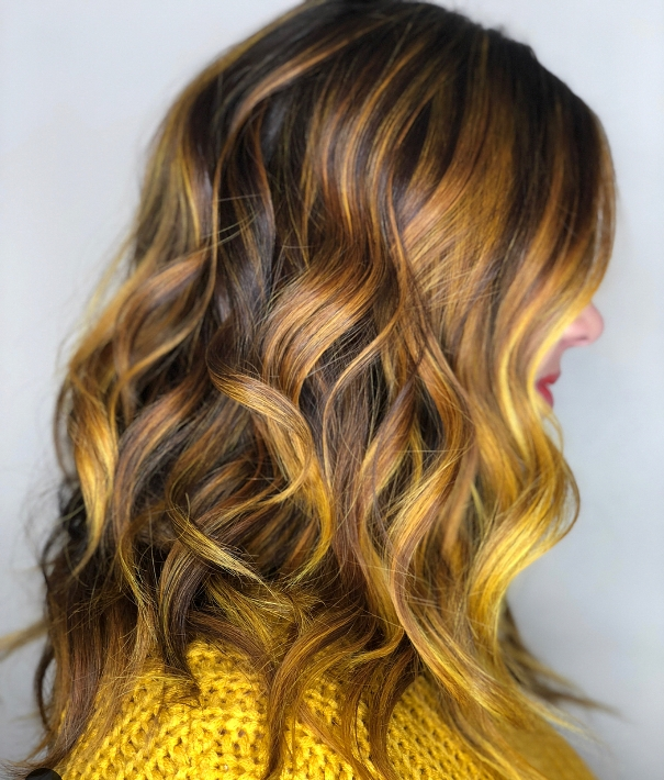 brown yellow hair highlights