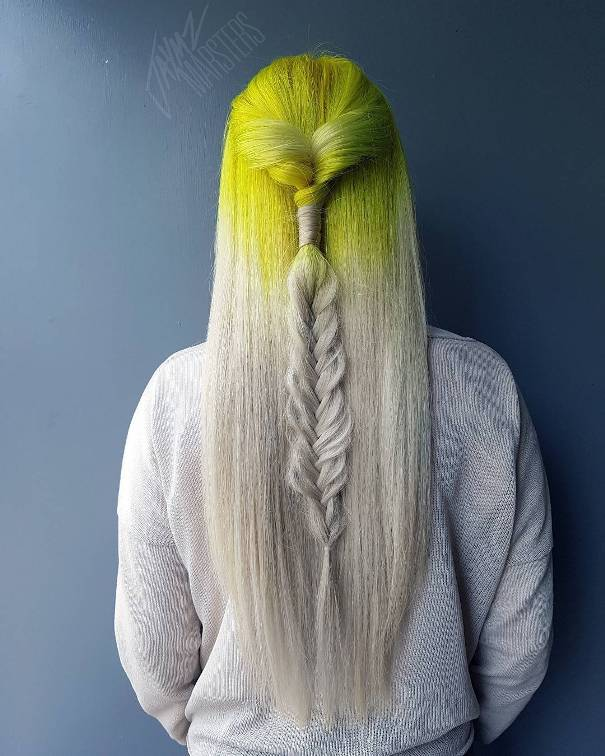 reverse ombre yellow platinum hair