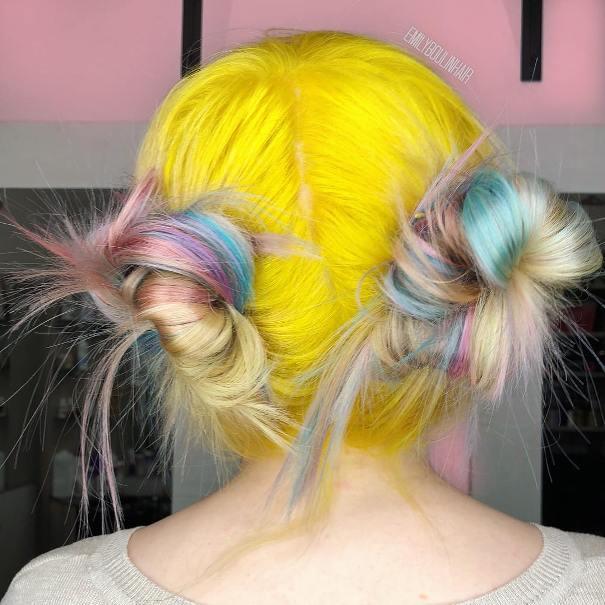 rainbow yellow unicorn hair